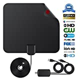 Digital TV Antenna Indoor HDTV Antenna 2018 Upgraded Version 1080P HD 50+ Miles USB Powered Amplified Antenna for All Types of Home Smart Television - Never Pay Fees.(black)