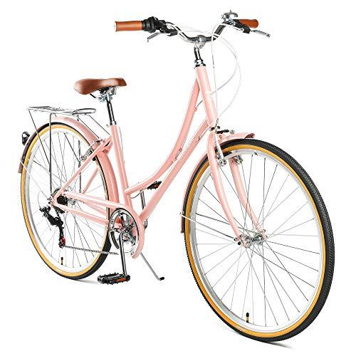 Retrospec Beaumont-7 Seven Speed Lady's Urban City Commuter Bike; Blush Pink, 44cm/Medium