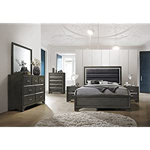 Kings Brand Furniture – 6-Piece Gray Wood with Faux Leather Headboard Queen Bedroom Set. Bed, Dresser, Mirror, Chest, 2…