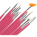 Amazon 15pcs nail art painting pen brush home kitchen 15pcs acrylic nail art design painting tool pen polish brush set kit diy pro prinsesfo Gallery