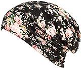 HONENNA Printed Turban Headband Chemo Cap Cotton Soft Sleep Beanie (Black)