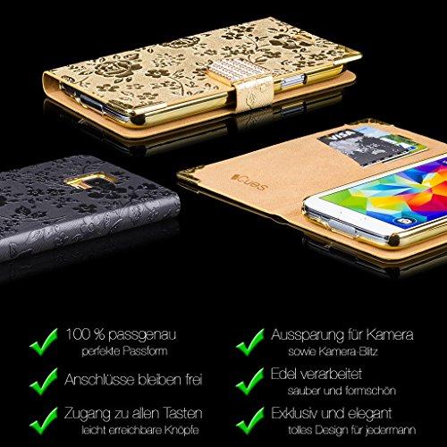 Samsung Galaxy S4 | iCues de diamantes de imitación de cocodrilo púrpura | [Protector de pantalla, incluyendo] cocodrilo diamantes de imitación brillo brillo de lujo de Bling mujeres de las señoras de Bolsa Negro