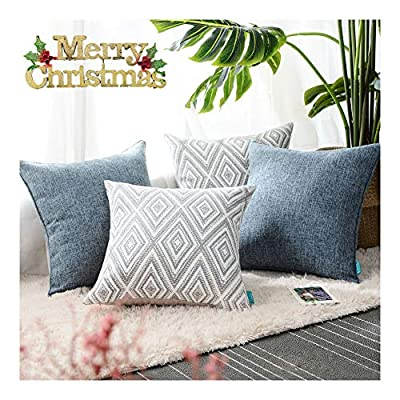 """HPUK Set of 4 Decorative Throw Pillow Covers Geometric Design Cushion Pillowcases for Couch Sofa Bed Car, 17""""x17"""", Blue - PACKAGE: 4 pillowcases in total (Cushion pad excluded). 2 puff print cushion covers and 2 textured cushion covers in plain color. These blue decorative pillows are available in a variety of styles for any occasion or festival HIGH-QUALITY MATERIALS: made of polyester, the fabric is durable and thick. This fabric has strong wrinkle resistance, water absorption and abrasion resistance, and good air permeability. It has been certified to international standards and is completely harmless and skin-friendly EXCELLENT WORKMANSHIP: We use new manufacturing techniques to make blue-colored polyester materials. The invisible zipper improves the color of the fabric. It is easy to replace. Very beautiful, and will not fade. It's cold water machine washable, and do not allow to bleach - living-room-soft-furnishings, living-room, decorative-pillows - 51YbqTE6UQL. SS400  -"""