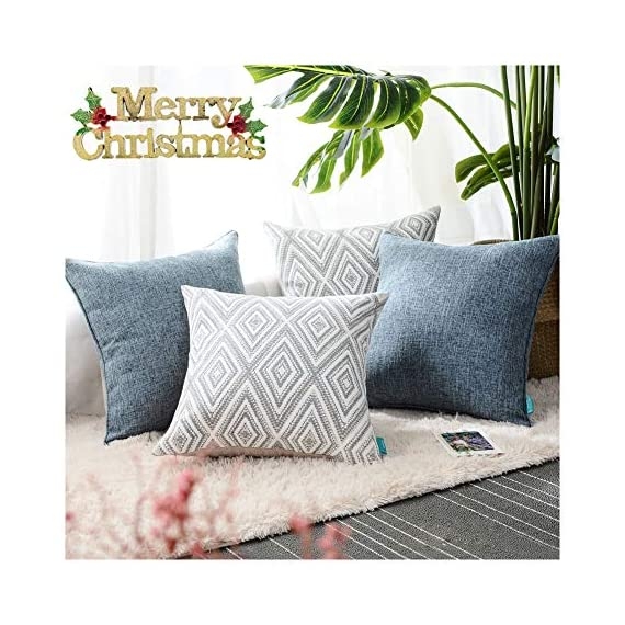 """HPUK Decorative Throw Pillow Covers Set of 4 Geometric Design Linen Cushion Cover for Couch Sofa Living Room, 17""""x17"""" inches, Blue - PACKAGE: 4 pillowcases in total (Cushion pad excluded). 2 puff print cushion covers and 2 textured cushion covers in plain color. These blue decorative pillows are available in a variety of styles for any occasion or festival HIGH-QUALITY MATERIALS: made of polyester, the fabric is durable and thick. This fabric has strong wrinkle resistance, water absorption and abrasion resistance, and good air permeability. It has been certified to international standards and is completely harmless and skin-friendly EXCELLENT WORKMANSHIP: We use new manufacturing techniques to make blue-colored polyester materials. The invisible zipper improves the color of the fabric. It is easy to replace. Very beautiful, and will not fade. It's cold water machine washable, and do not allow to bleach - living-room-soft-furnishings, living-room, decorative-pillows - 51YbqTE6UQL. SS570  -"""