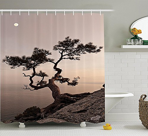 [Farm House Decor Collection Lonely Juniper Tree on Seaside Cliff Full Moon at Sunset Nature Theme Decoration Polyester Fabric Bathroom Shower Curtain Set with Hooks Brown] (Dr Gregory House Costume)