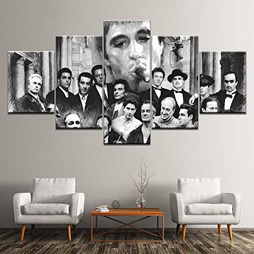 - XLST 5 Panel Godfather Goodfellas Scarface Sopranos Modular Movie Pictures Canvas Prints Retro Painting Decor Living Wall Art,B,30X40X230X60X230X80X1