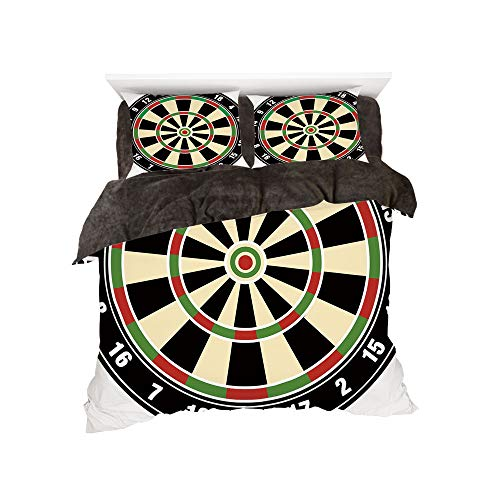 All Season Flannel Bedding Duvet Covers Sets for Girl Boy Kids 4-Piece Full for bed width 4ft Pattern by,Sports,Dart Board Numbers Sports Accuracy Precision Target Leisure Time Graphic,Vermilion Green