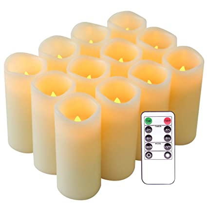 Amazoncom Eldnacele Flameless Candles Flickering Real Wax Led