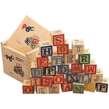 Amazon Com Tinkerton Abc 123 Blocks Wood Alphabet Blocks