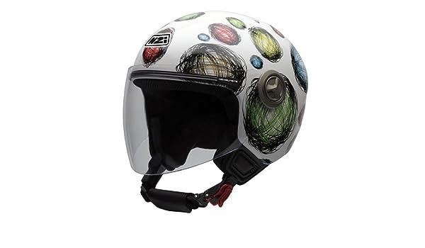 Amazon.es: NZI 050256G407 Helix IV Scribble Casco de Moto, Fondo Blanco y Círculos de Colores, Talla 55-56