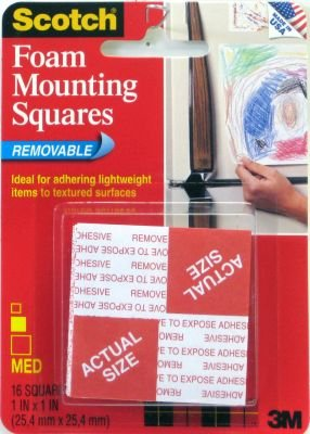 Removable Foam Mounting Squares (3M Scotch Pre-Cut Foam Mounting Squares Removable,16-count)