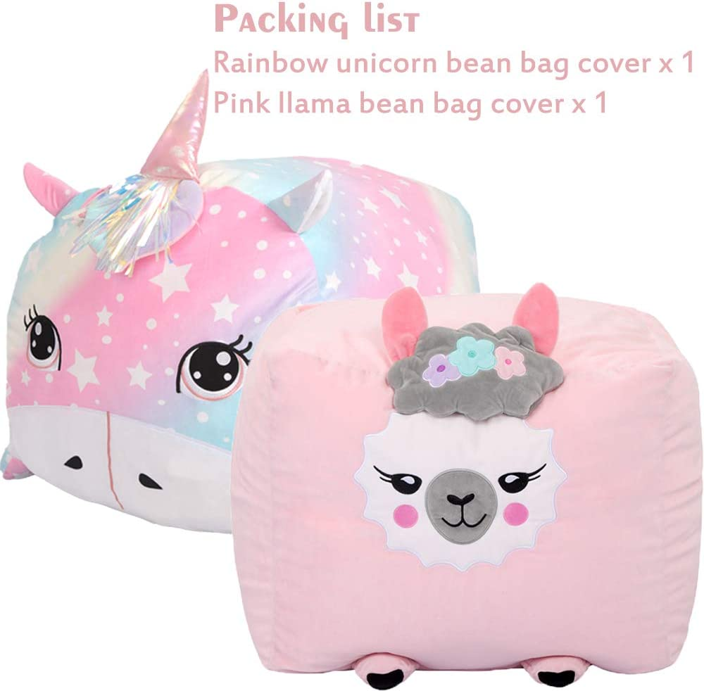 Stuffed Animal Storage Bean Bag Chair Cover for Kids No Stuffing Rainbow Unicorn+Pink Llama 2 Pack Soft Velvet Plush Stuffed Animal Holder Toy Storage Unicorn Room Decor for Girls
