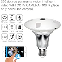 Security Camera Bulb System Wireless Home Security IP Camera Light Bulb System, 360 Degree Fisheye Lens Wifi Video Digital Security Camera