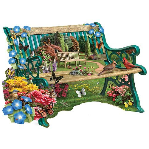 Bits and Pieces - 750 Piece Shaped Puzzle - The Garden Bench, Cardinals - by Artist Alan Giana - 750 pc Jigsaw