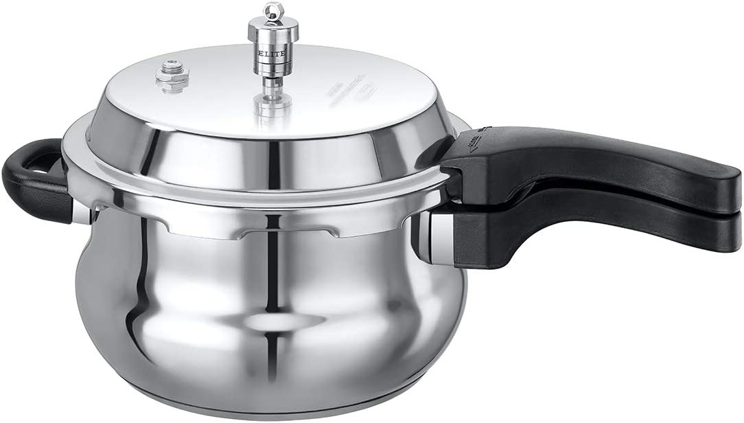 Elite Cookware - Stainless Steel Outerlid Stovetop Pressure Cooker - Belly Shaped - Induction Friendly - 5.5 Lts