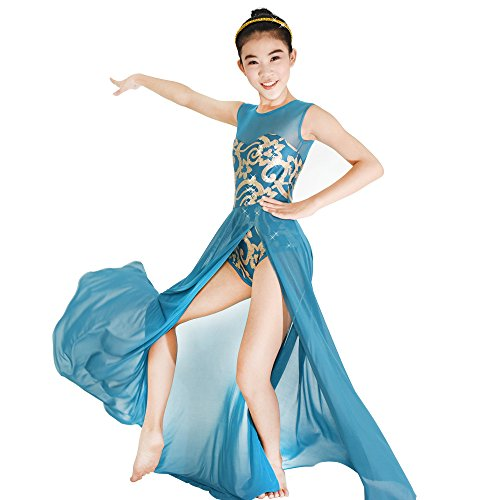MiDee Lyrical Dress Dance Costume 4 Colors Floral Sequin Tank Leotard Maxi Skirt (IC, Turquoise)