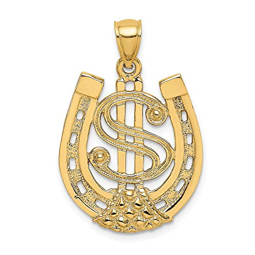 14k Yellow Gold Dollar Sign In Horseshoe Pendant Charm Necklace Good Luck Italian Horn Fine Jewelry Gifts For Women For Her