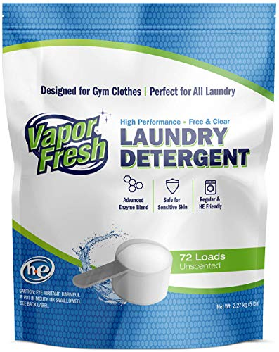 Fragrance Enzyme Active (Vapor Fresh Laundry Detergent Powder - Free and Clear - Unscented - Cold Water Enzymes - HE Safe - Ideal Laundry Soap for Sports and Activewear - 72 Loads - 5 Pounds)