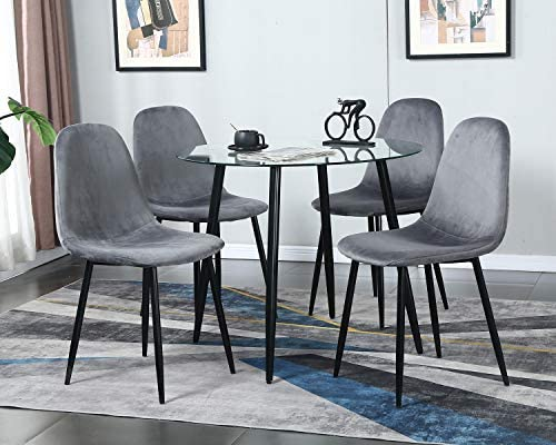 STYLIFING Dining Table Set Modern 5 Pieces Dining Room Set Mid Century Round Tempered Glass Kitchen Table and 4 Deep Grey Modern Velvet Fabric Upholstered Kitchen Chair