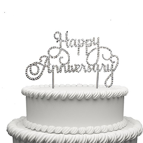 Happy Anniversary Cake Topper Wedding Anniversary Crystal Rhinestone Party Decoration Silver