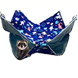 FULUE Small Animal Ferret Rat Guinea Pig Degu Gerbil Mice Hamster Chincilla Hammock Sleeper Cage Accessories (Blue 13.8x13.8inch)