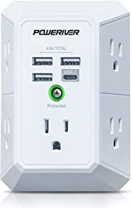 USB Wall Charger, POWERIVER Multi Outlet Extender Surge Protector with 4 USB Ports (1 USB C, 4.8A Total) 1680J Power Strip Multi Plug Wall Outlet Adapter Spaced for Home School Office ETL Listed