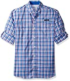 Columbia Men's Super Low Drag Long Sleeve Shirt, Vivid Blue Plaid, X-Large