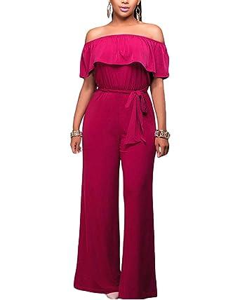 Femme Épaules Dénudées Combinaison Rompers Casual Couleur unie Longue  Jumpsuit Pantalons Rose 2XL 889632f459cd