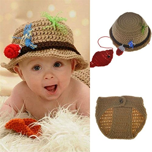 Best Seller Baby Photography Prop Crochet Fishing Fisherman & Fish Hat Diaper Shoes -
