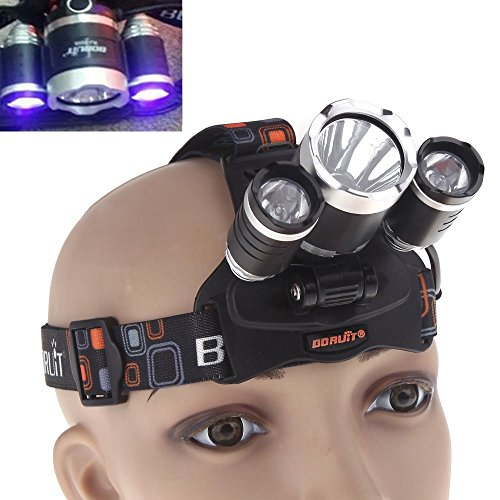 WindFire 1x Cree T6 White LED and 2 x UV LEDs 4 Modes 395-410nm UV-Ultraviolet Led Blacklight Headlamp for Money Detector, Leak detector and Cat-Dog-Pet Urine Detector (with AC Charger and Batteries) (Best Headlamp For The Money)