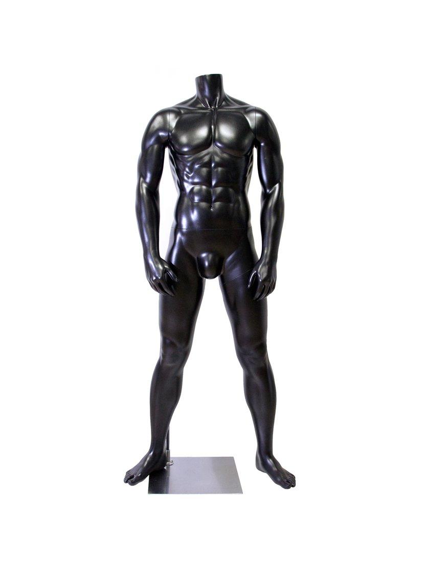 Newtech Display MAM-A1-MB1/BLK Muscular Mannequin, Matte Black