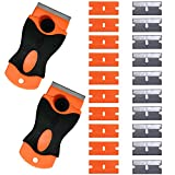 Ehdis® 1.5-inch 2 pcs Mini Metal Razor Handle Scraper with 10 Carbon Steel and 10 Plastic Blades for Removing Glue, Paint, Decals, Tint