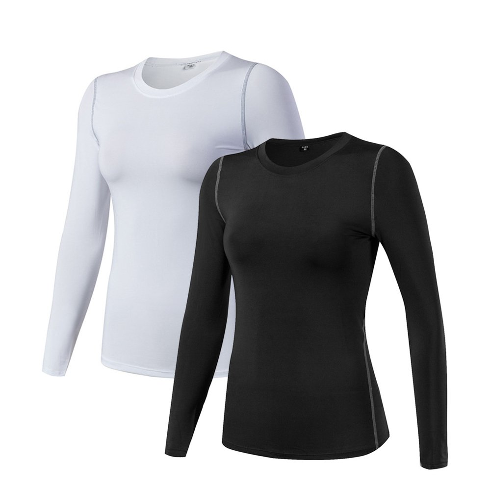 Women's Compression Shirt Dry Fit Long Sleeve Running Athletic T-Shirt Workout Tops