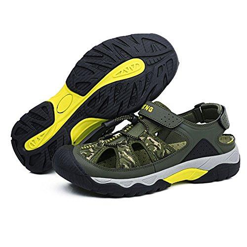 Wagsiyi Blu In In Traspirante Traspirante Sandali Da 42 Scarpe Casual Dimensione Esterni Uomo EU da spiaggia Verde Pelle Colore Pelle pantofole 2 3 Verde Sandali UqzwUr