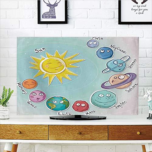 iPrint LCD TV Cover Lovely,Space,Cute Cartoon Sun and Planets of Solar System Fun Celestial Chart Baby Kids Nursery Theme,Multi,Diversified Design Compatible 32