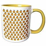 3dRose Anne Marie Baugh - Halloween - Cute Halloween Pumpkins With Vines On A White Background - 15oz Two-Tone Yellow Mug (mug_216851_13)