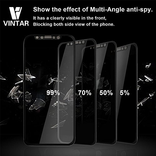 Vintar [3D Full Coverage] Privacy Screen Protector for iPhone X, 9H Anti-Spy Tempered Glass Screen Protector, (Black) by VINTAR (Image #3)