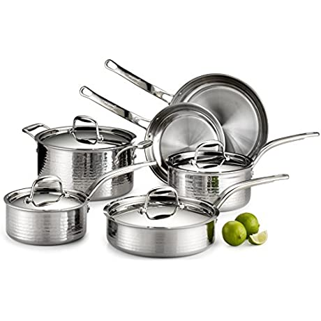 Lagostina Q553SA64 Martellata Tri Ply Hammered Stainless Steel Dishwasher Safe Oven Safe Cookware Set 10 Piece Silver