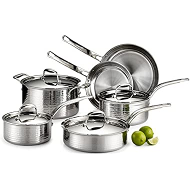 Lagostina Q553SA64 Martellata Tri-ply Hammered Stainless Steel Dishwasher Safe Oven Safe Cookware Set, 10-Piece, Silver