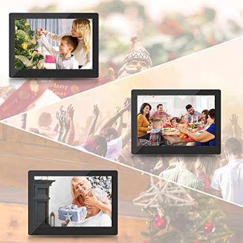 Digital Photo Frame 7-inch - VUCATIMES F7 1024x600 IPS Display, Remote Control, Time, Slide Show, Picture, Calendar, Support USB, MMC/SD Card Black