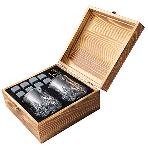 Whiskey Stones Gift Set - 8 Natural Granite Chilling Whisky Rocks To Chill any Beverages & Drinks + Two 6.8 oz Crystal Whiskey Glasses + Handmade Wooden Box - Best Bar Accessories By Lord's Rocks