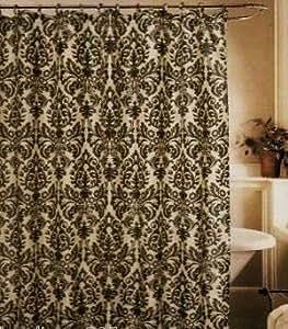 Amazon Com Medallion Black Amp Cream Toile Fabric Shower