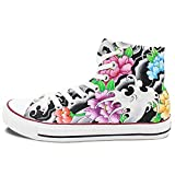 Wen Original Hand-painted Shoes Chinoiserie Flowers Totem Unisex Canvas Sneakers