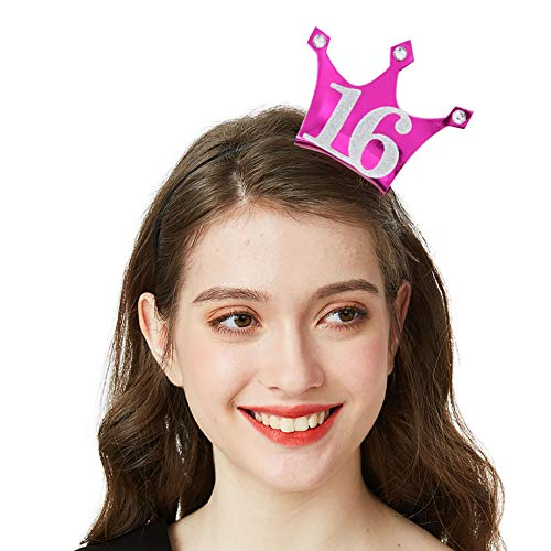 16 Birthday Headband - Sweet 16 Party Tiara 16th Birthday Gifts Birthday Party Accessories(Hot Pink/Glitter Silver) ()