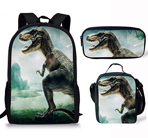 ThiKin Dinosaur Print School Backpack Lunch Bag Pencil Bag Set Casual Daypack For Teen Boys Girls School Book Bags ()