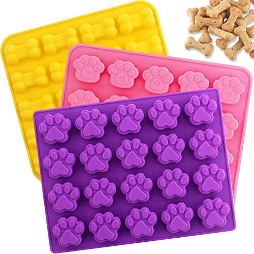BAKHUK Silicone Chocolate Mold - 3pcs 20-Cavity Dog Bone and Paw Molds for Puppy Treats, Making Ice Cubes, Biscuits and ()