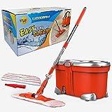 Woodsam Easy Wring Spin Mop Set - Flat Mop Head - Wet & Dry...