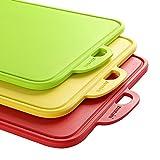 Zanmini Cutting Board Set of 3 PCS, Kitchen Three Colored Chopping Board