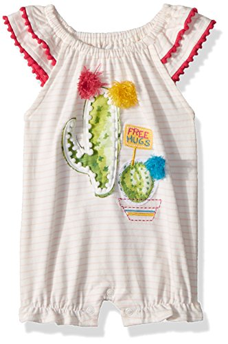 - Mud Pie Baby Girls Cactus Stripe Flutter Sleeve Bubble Romper Playwear, Pink, 12-18 Months
