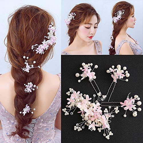 (Wedding Party Jewelry Accessories Wedding Dress Costume Chinese Chinese (Pink Pearl Floral)